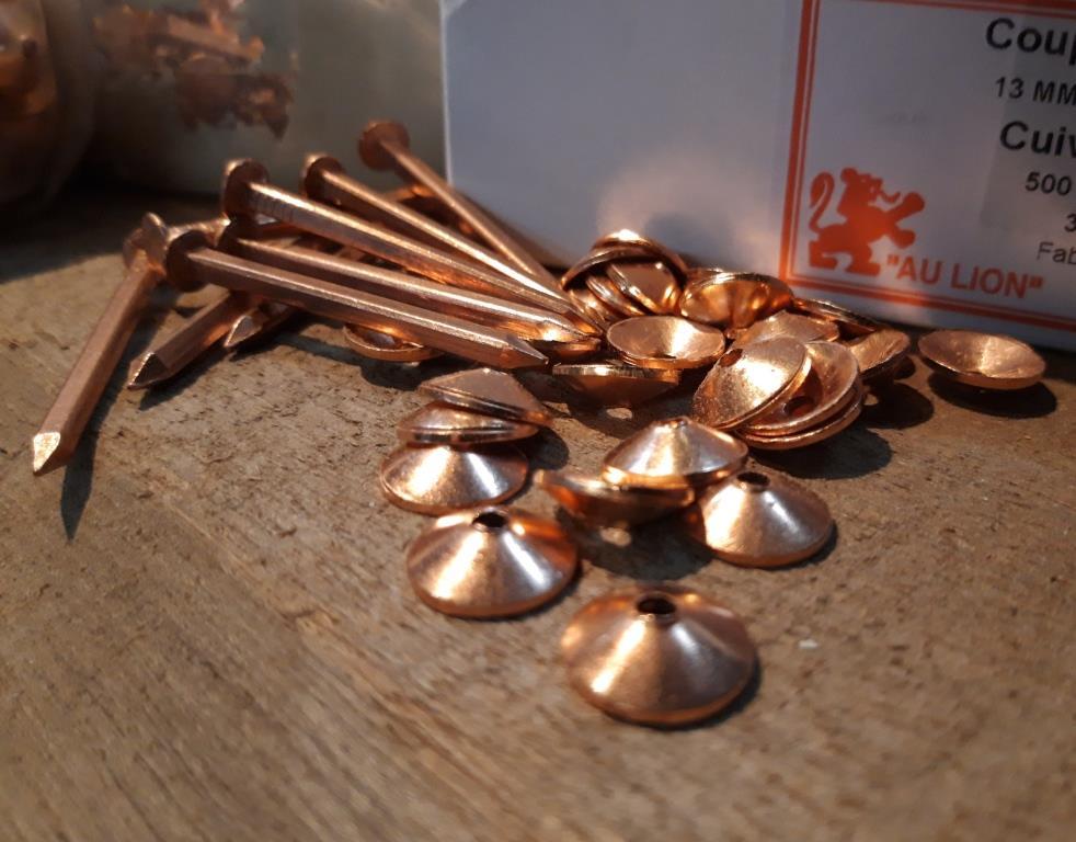 clous et contre rivures cuivre restauration